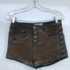 Free People | Green Denim Lace Button Fly Shorts